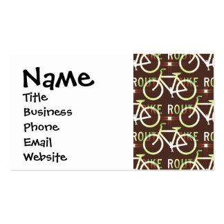 Fun Bike Route Fixie Bike Cyclist Pattern Business Card Templates