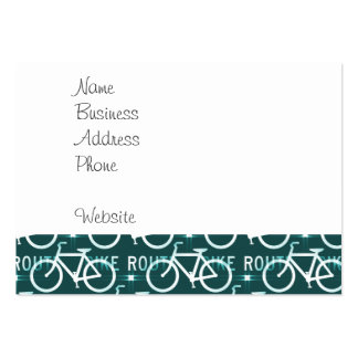 Fun Bike Route Fixie Bike Cyclist Pattern Large Business Cards (Pack Of 100)