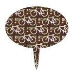 Fun Bike Route Fixie Bike Cyclist Pattern Cake Toppers