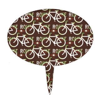 Fun Bike Route Fixie Bike Cyclist Pattern Cake Topper