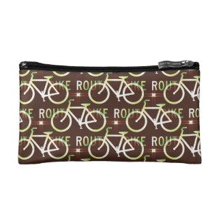 Fun Bike Route Fixie Bike Cyclist Pattern Cosmetic Bag