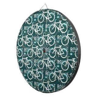 Fun Bike Route Fixie Bike Cyclist Pattern Dartboard With Darts