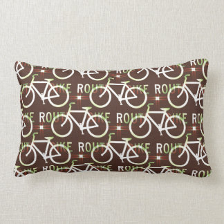 Fun Bike Route Fixie Bike Cyclist Pattern Lumbar Pillow