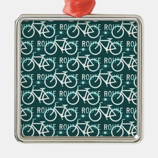 Fun Bike Route Fixie Bike Cyclist Pattern Metal Ornament