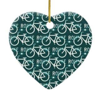 Fun Bike Route Fixie Bike Cyclist Pattern Christmas Tree Ornaments