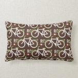 Fun Bike Route Fixie Bike Cyclist Pattern Pillow