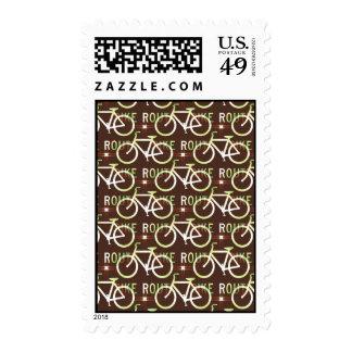 Fun Bike Route Fixie Bike Cyclist Pattern Postage Stamps