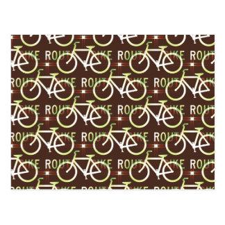 Fun Bike Route Fixie Bike Cyclist Pattern Postcard