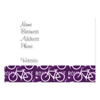 Fun Bike Route Fixie Bike Cyclist Pattern Purple Large Business Cards (Pack Of 100)
