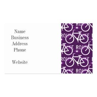 Fun Bike Route Fixie Bike Cyclist Pattern Purple Business Cards