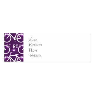 Fun Bike Route Fixie Bike Cyclist Pattern Purple Double-Sided Mini Business Cards (Pack Of 20)