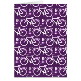 Fun Bike Route Fixie Bike Cyclist Pattern Purple Cards