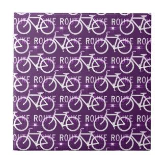 Fun Bike Route Fixie Bike Cyclist Pattern Purple Ceramic Tile