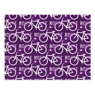 Fun Bike Route Fixie Bike Cyclist Pattern Purple Postcard