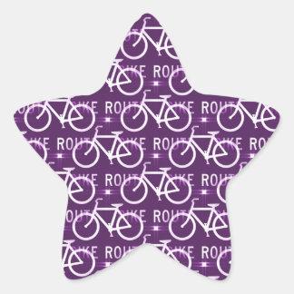 Fun Bike Route Fixie Bike Cyclist Pattern Purple Star Sticker