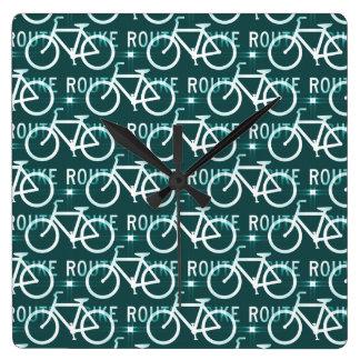 Fun Bike Route Fixie Bike Cyclist Pattern Square Wall Clock
