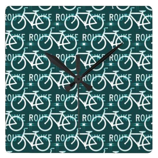 Fun Bike Route Fixie Bike Cyclist Pattern Square Wall Clocks