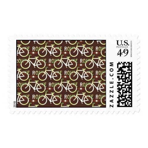 Fun Bike Route Fixie Bike Cyclist Pattern Stamp