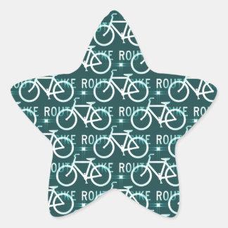Fun Bike Route Fixie Bike Cyclist Pattern Star Sticker
