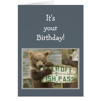 Fun Birthday Break a Few Rules Bear Animal Card