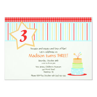 Fun Birthday Cake Birthday Invitation