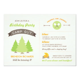 Fun Birthday Camp Out Invitation 5