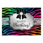 Fun Birthday Card Zebra Rainbow Jewelry