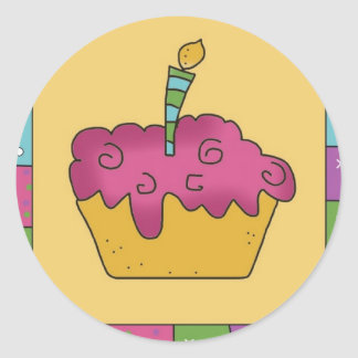 Fun Birthday Cupcake Pink Stickers Seals