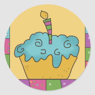 Fun Birthday Cupcake Stickers Seals