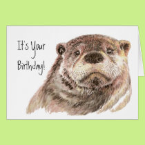 Fun Birthday Cute Otter Nature, Wildlife Card