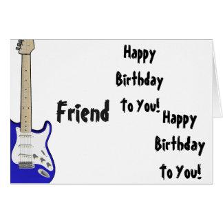 Fun, birthday greeting for a friend, blue guitar. card