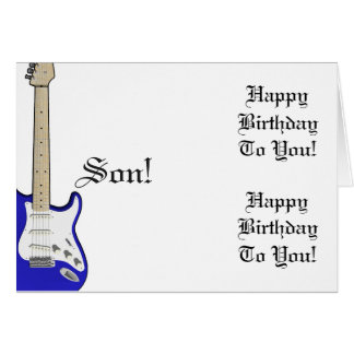 Fun, birthday greeting for a son, blue guitar. card