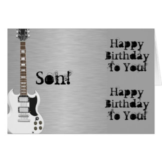 Fun, birthday greeting for a son, white guitar. card