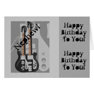 Fun, birthday greeting for nephew, guitar. card