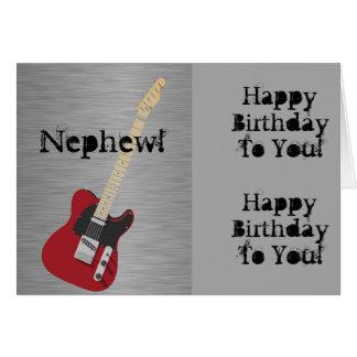 Fun, birthday greeting for nephew, red guitar. card