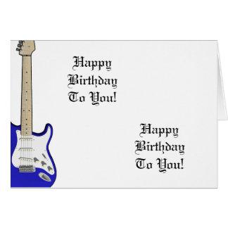 Fun, birthday greeting with a blue guitar. card