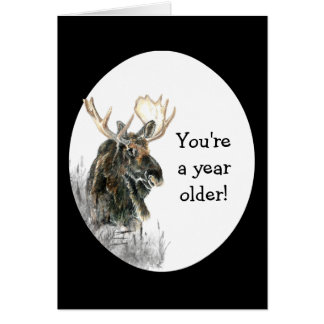 Fun Birthday Moose Watercolor Animal Humor Card
