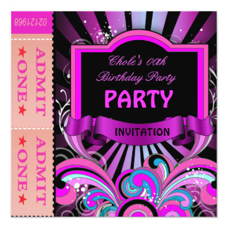 """Fun Birthday Party Girls Hot Pink Tickets 5.25"""" Square Invitation Card"""
