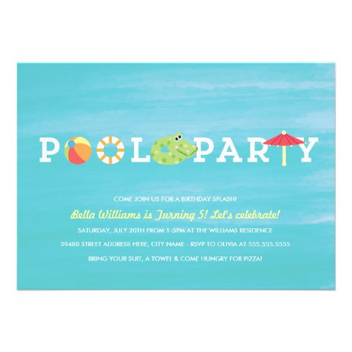 Birthday Pool Party Invitations can inspire you to create best invitation template