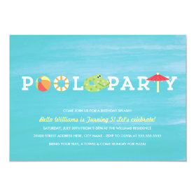 Fun Birthday Pool Party Invitation 5