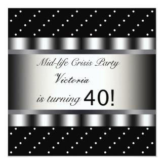 Fun Black 40th Birthday Party Invitation