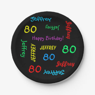 Fun Black, 80th Birthday Party, Repeating Names Paper Plate