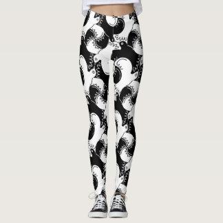 Fun Black and White Bird Pattern>Leggings Leggings
