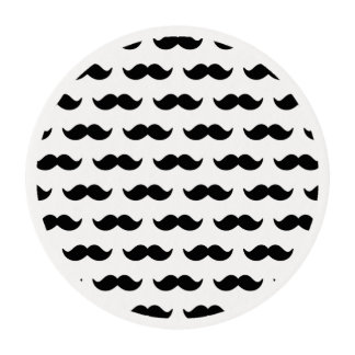 Fun Black and White Mustache Pattern 1 Edible Frosting Rounds