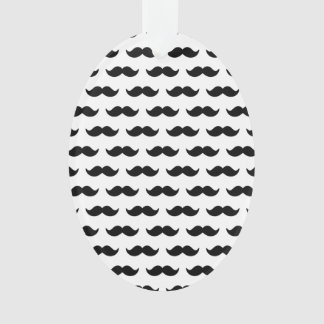 Fun Black and White Mustache Pattern 1 Ornament