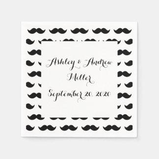 Fun Black and White Mustache Pattern 1 Paper Napkin