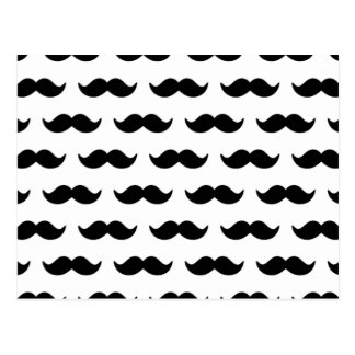 Fun Black and White Mustache Pattern 1 Postcard