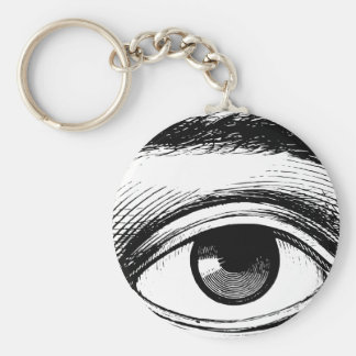 Fun Black and White Vintage Eye Illustration Basic Round Button Keychain