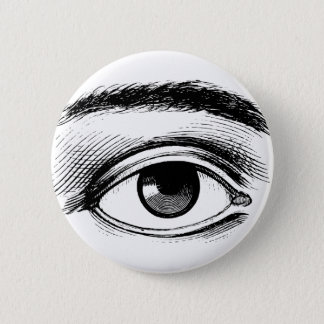 Fun Black and White Vintage Eye Illustration Button