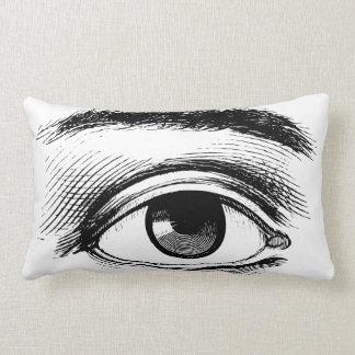 Fun Black and White Vintage Eye Illustration Lumbar Pillow